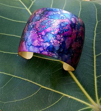 Abstract OOAK Inked Cuff Bracelet