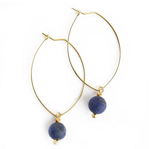 Lenny Gemstone Earrings-Lapis Lazuli