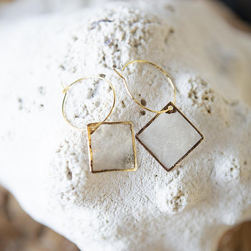 Capiz Shell Earrings-Diamond