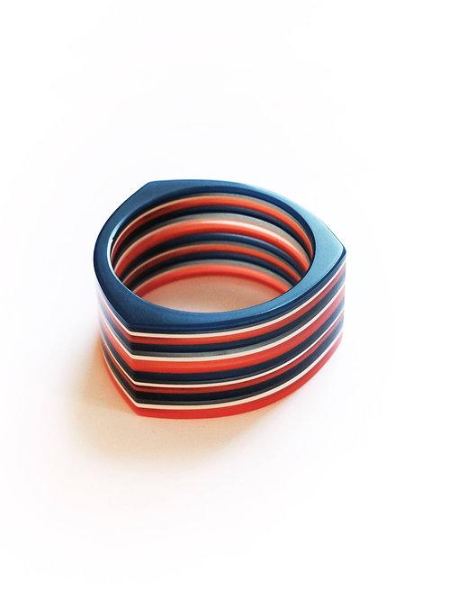 Navy White & Orange Stripe Tricorn Cuff Bracelet