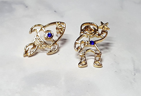 Major Tom Astronaut & Rocket Mismatched Stud Earring