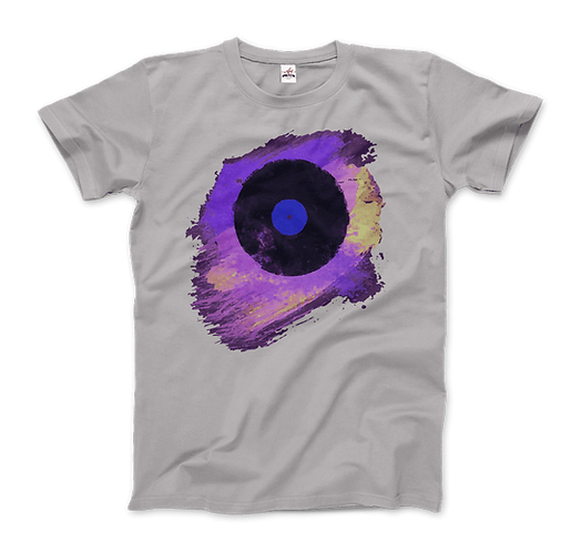 Vinyl Record with Paint Scattered in Purple Tones T-Shirt