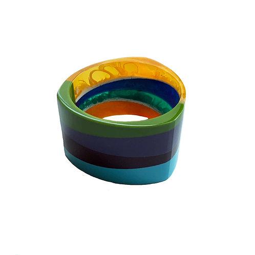 Layered Colorblock Tricorn Cuff Bracelet