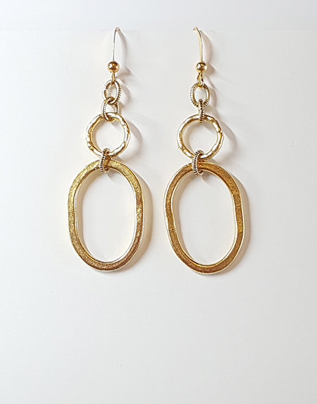 Hammered Flat Oval Earrings