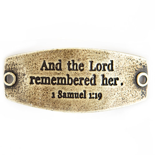 """""""And the Lord Remembered Her"""" Bracelet Tag"""