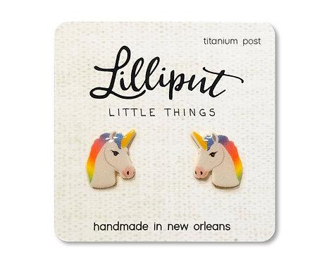Rainbow Unicorn Stud Earrings