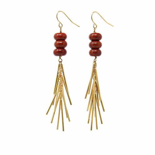Red Jasper & Gold Fringe Dangle Earrings