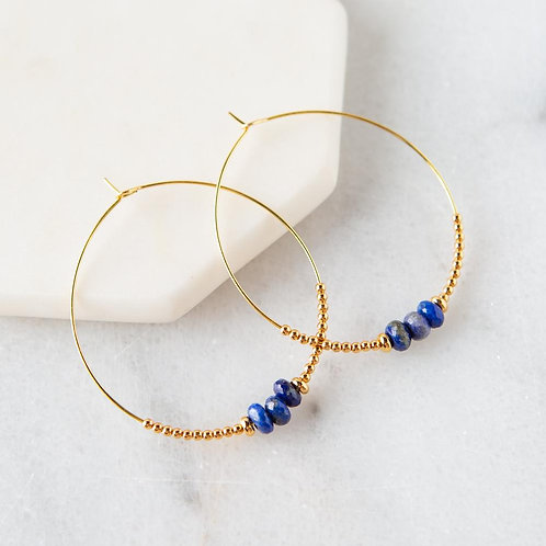 Lily Earrings, Lapis Lazuli