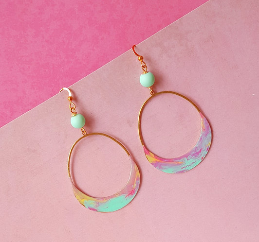 Aqua Crescent Drop OOAK Hand-painted Earrings