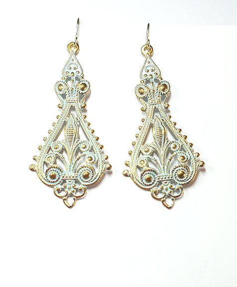 Rococo Filigree Verdigris Earrings