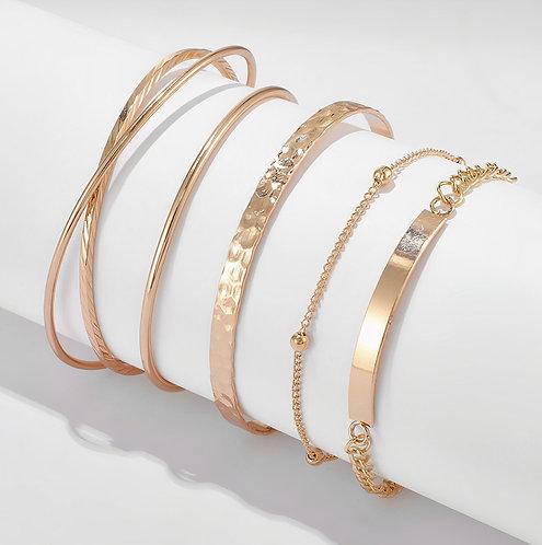Gold Bangles Stacked Bracelet Set