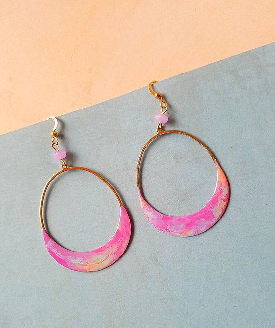 Crescent Drop OOAK Hand-painted Earrings