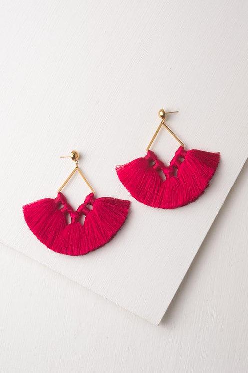 Handmade Siyona Fuchsia & Gold Tassel Earrings