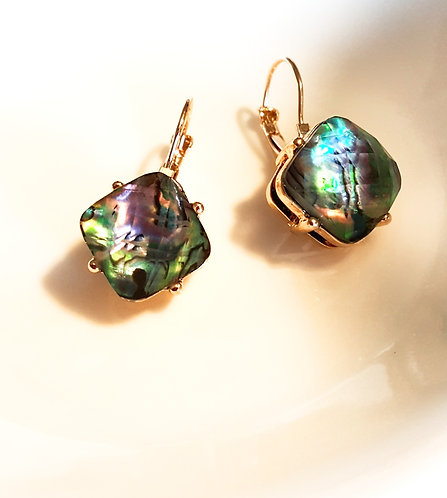 Faceted Abalone Acrylic Earrings