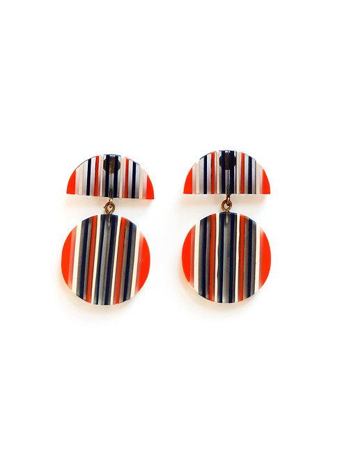 Navy White & Orange Stripe Circle Drop Earrings