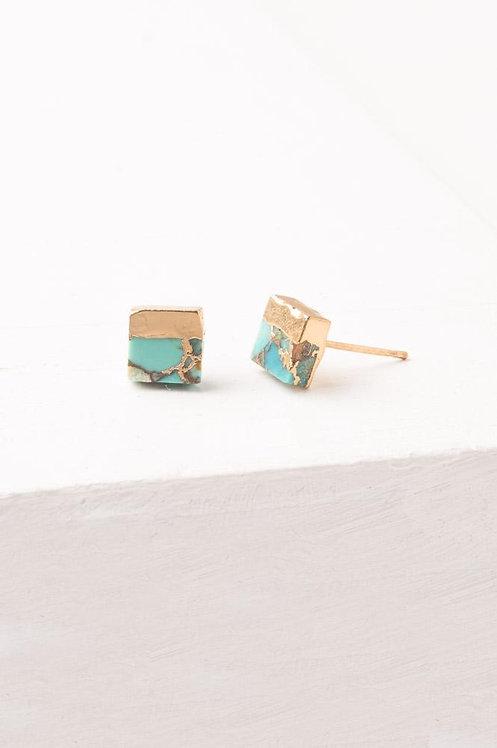 Lorena Turquoise Square Stud Earrings