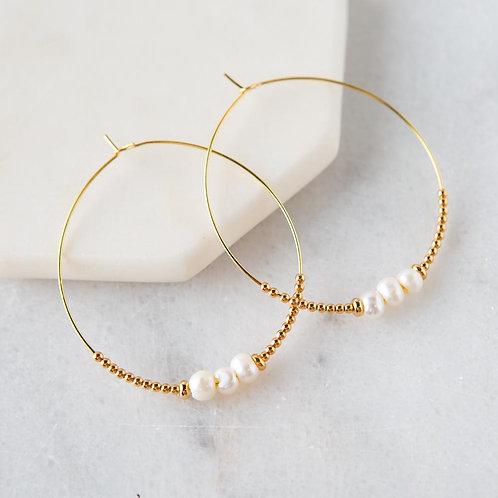 Lily Earrings, Pearl