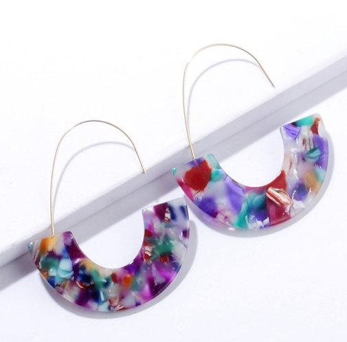 Fandango Confetti Acrylic Hoop Earrings