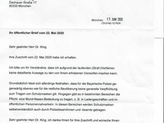 Antwort des Bayerischen Innenministers Joachim Hermann, MdL