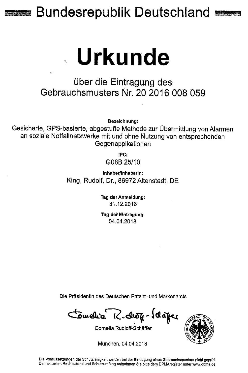 Gebrauchsmuster Dr Rudolf King SwiftAlarm!