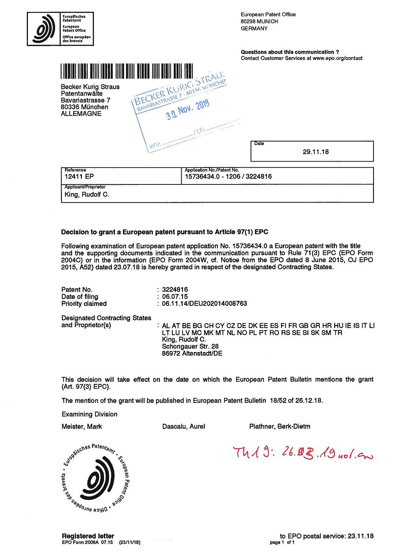 Erteilungsbeschluss EP 12411 SwiftAlarm!