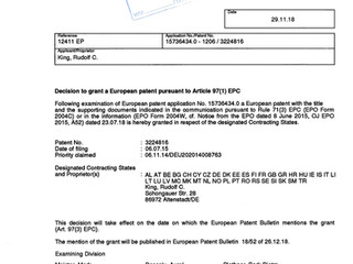 UPDATE : NOT ONE BUT TWO Game-changer patents to be issued for SwiftAlarm! within the European Union