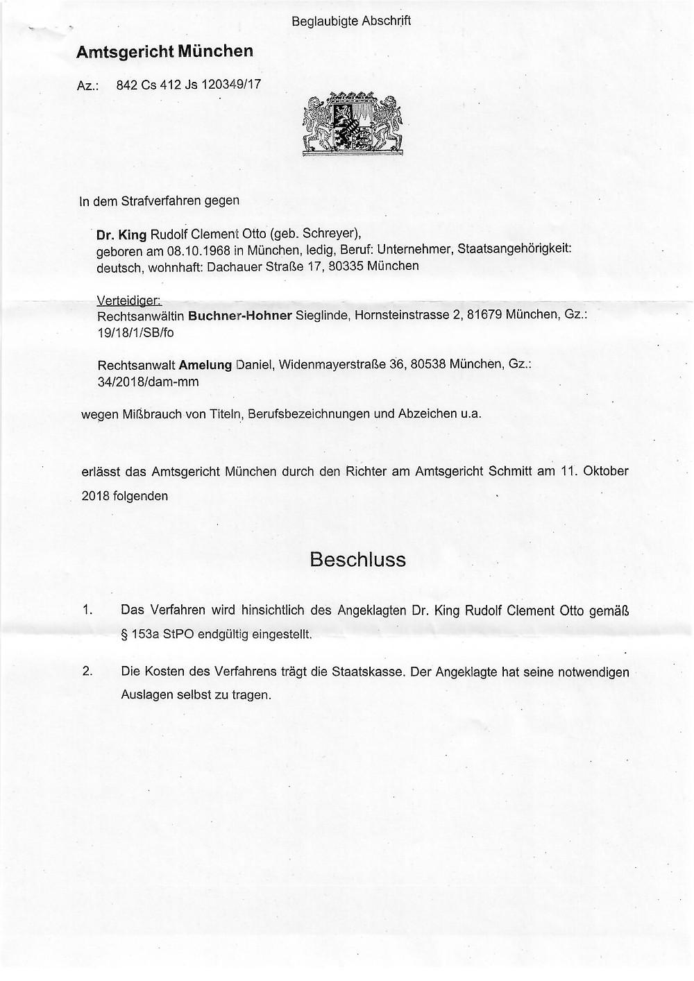 Einstellung Strafverfahren Dr Rudolf King Seite 1