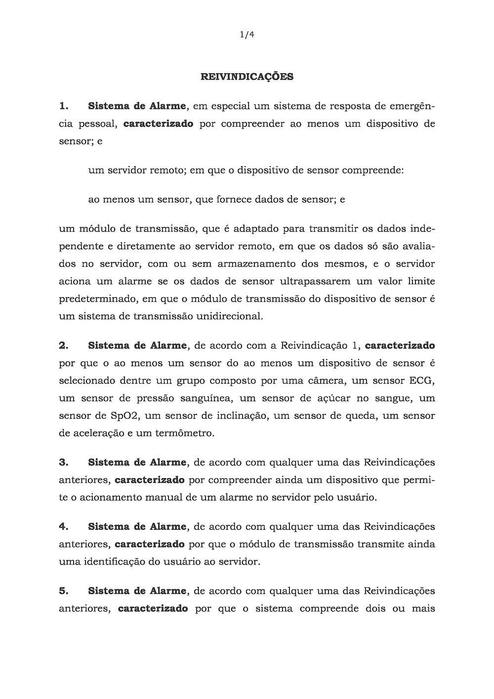 Brasilian patent claims