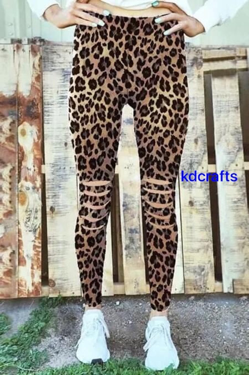 Leopard  cut out leggings