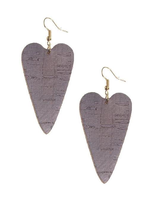 Purple Cork Heart Earrings