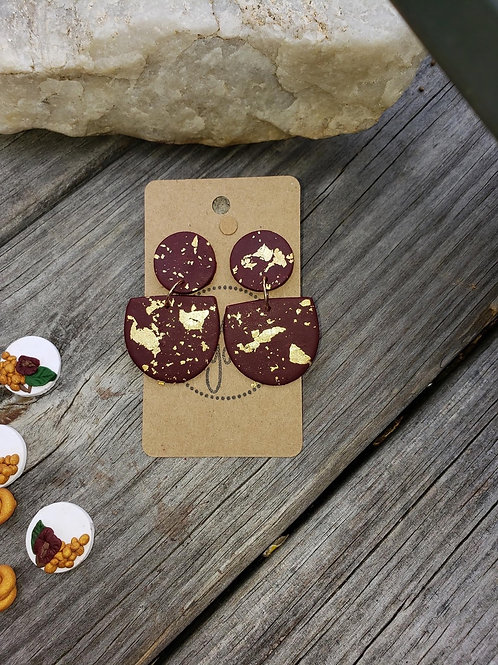 Earrings- Burgandy and Gold