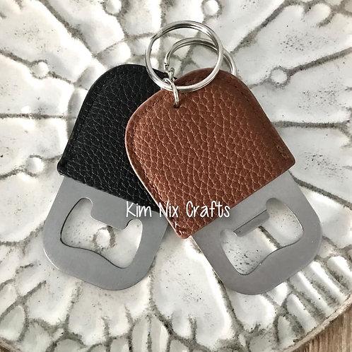 Faux Leather Bottle Opener Keychain