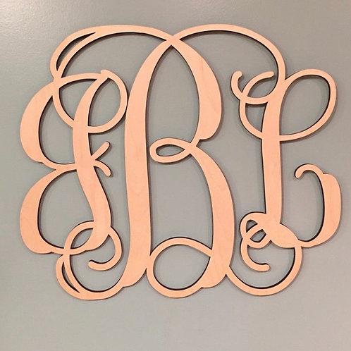 Wood 3 letter monogram