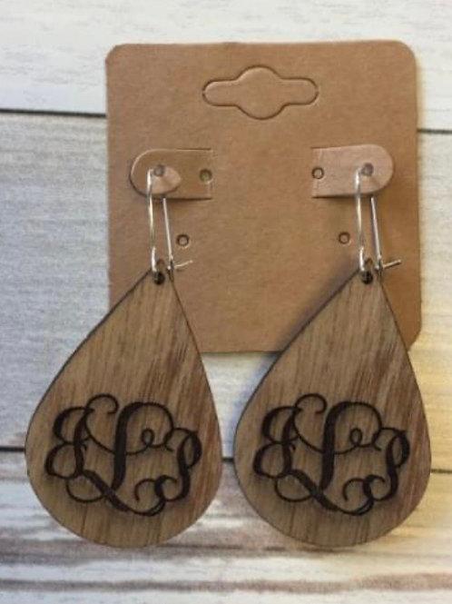Wood personalized earrings