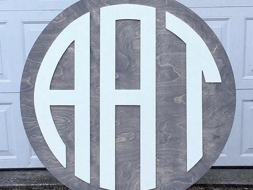 Wood 3 letter round monogram