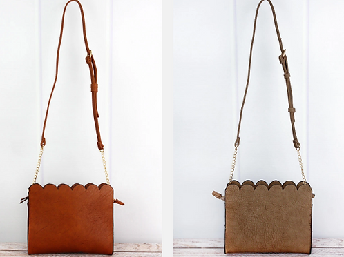 Faux Leather Scalloped Crossbody Clutch