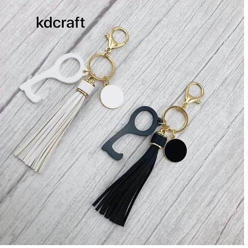 No Touch Tassel Keychain w/Monogram Disc