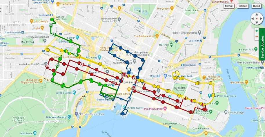 Perth CAT Bus route.jpg