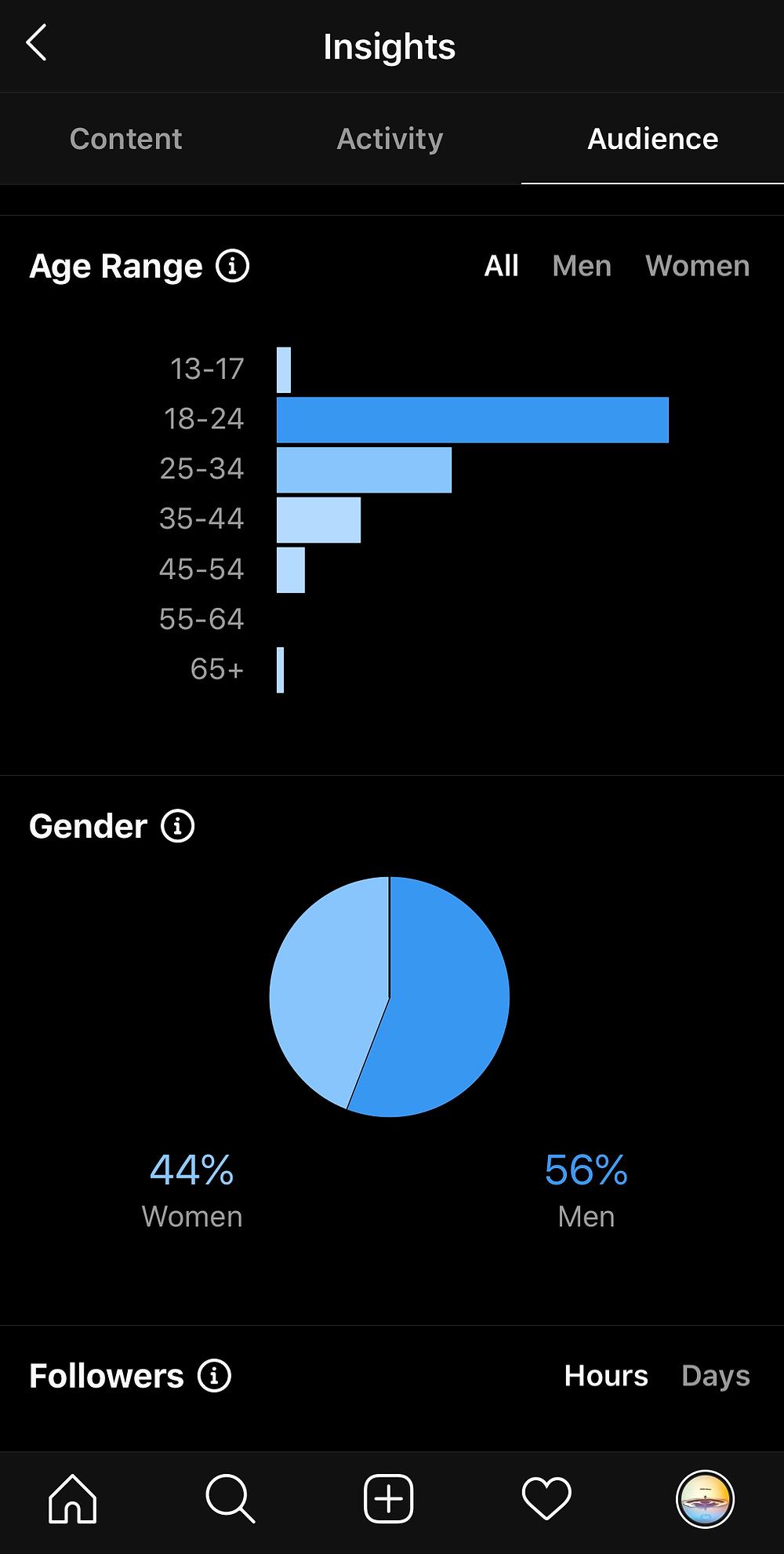 Instagram Insights age range gender followers
