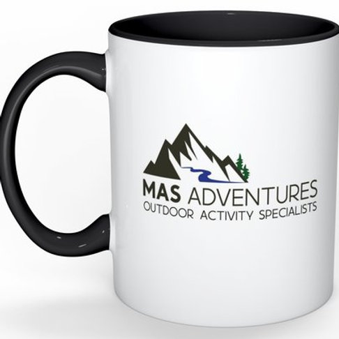 MAS Adventures Branded Mug in White/Black - Logo on Right