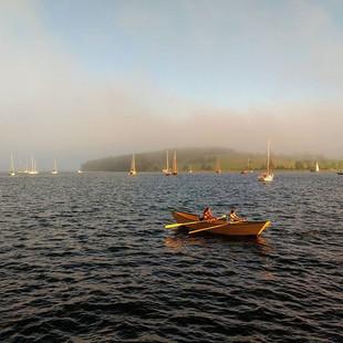 Dory rowing towards the fog_#fog #dory #