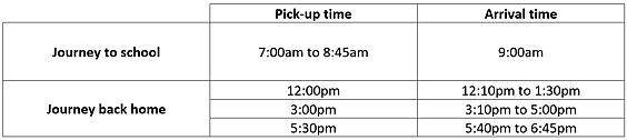 Pick up and drop off schedule