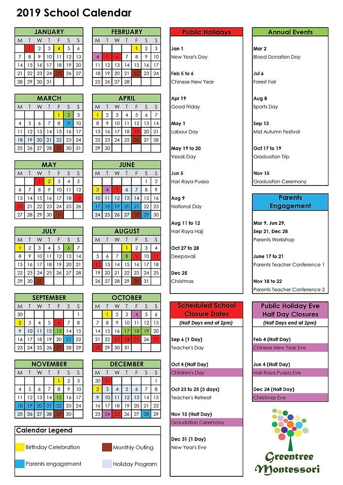 School Calendar for 2019 updated Apr 19.