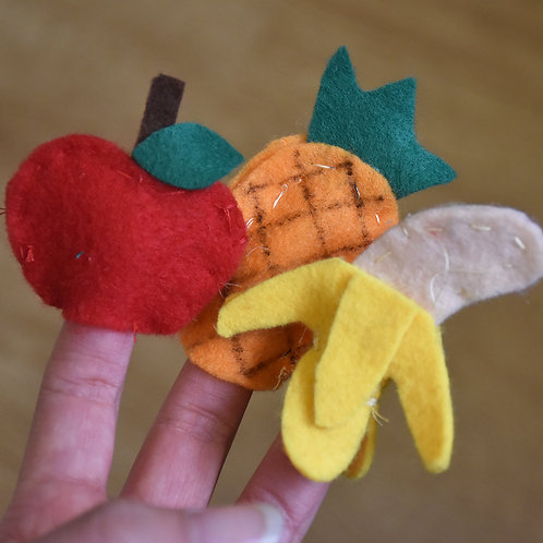 Curry Leaf Class's Fruits & Vegetables Finger Puppet Set