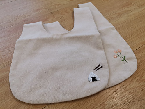 Embroidered Canvas Lunch Bag