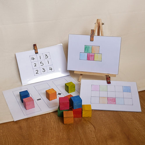 Periwinkle Class's Hand-Painted Coloured Blocks with Activity Books