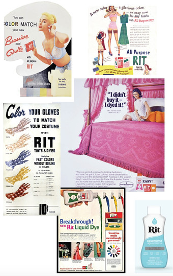 My first moodboard for this project, featuring Rit Dye ads from decades past plus their current dye bottle for reference.
