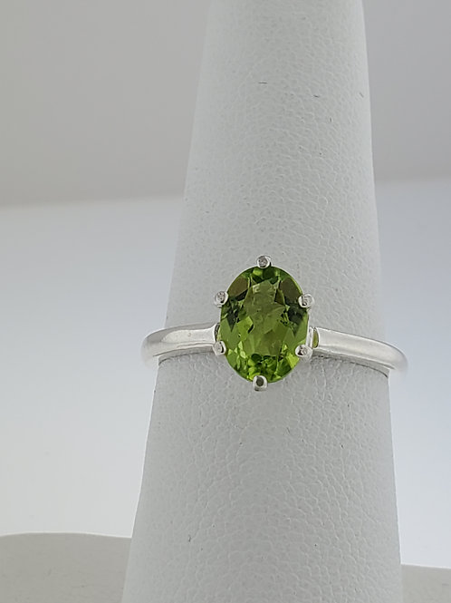 Peridot Oval, 8 x 6mm set in Sterling Silver Ring