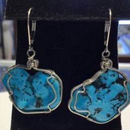 Turquoise Wire Wrap Earrings