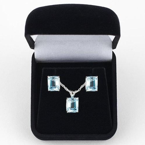 Aquamarine Emerald Cut 7 x 5 Earrings and Pendant Set